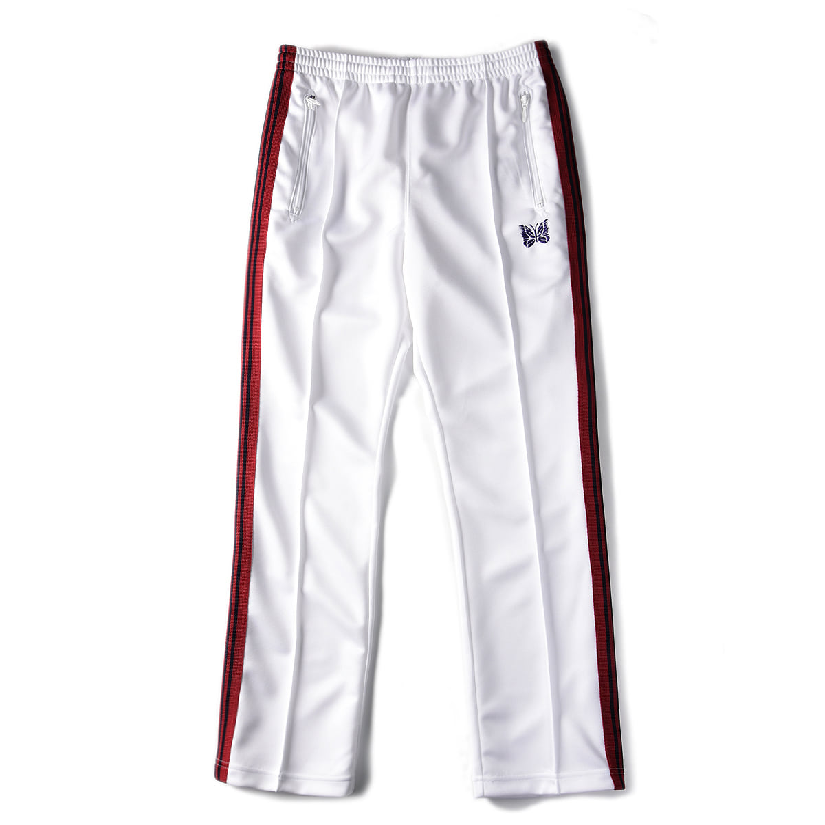 "NEEDLES Narrow Track Pant Poly Smooth ""White"""
